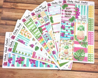 TROPIC Like It's HOT KIT! Planner stickers, tropical, pink, pineapples, orchids, watercolor, flowers, Inkwell, eclp, Happy Planner {#K1709}