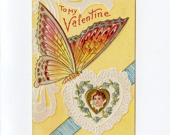 Vintage Valentine's Day Postcard Pretty Girl in White Heart Blue Flowers Large Yellow Butterfly Blue Ribbon Used Embossed - 7733Pc