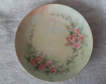 "Vintage Tirschenreuth Pink Roses Hand Painted Plate Bavaria Germany Flowers with Green Leaves 8 1/2"" Gift for Wall Decor or Party ~ 7944a"