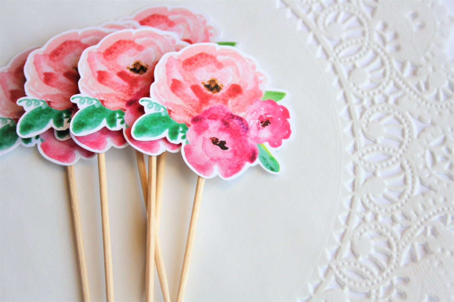 Floral Baby Showers ~ Floral cupcake toppers flower theme
