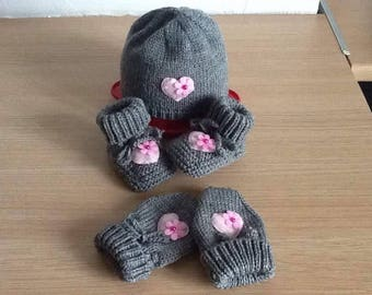 Hat shoes hat and mitten baby 0/3 months