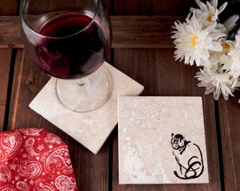 Set of 4 Cat Travertine Stone Coasters