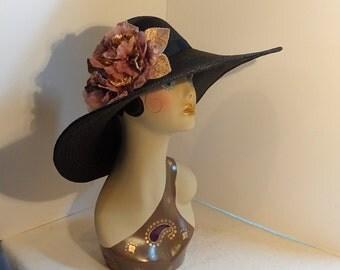 "Panama Straw Hat 6""Brim Black Derby Hat"
