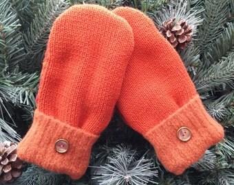 Children's Recycled Sweater Mittens, Orange Sweater Mittens, Small Mittens, Childrens Mittens - RSM00113