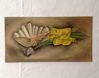 Original Watercolor of a Sea Shell and Flowers by Edloe Risling