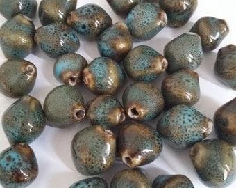 10pcs Blue Porcelain Beads - Rustic Artisan Handmade 14x12mm - G25