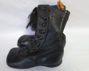 """Museum Quality Antique Victorian Little Girl Leather Button Shoes All Leather Button Up boots """"MHW"""" on bottom"""
