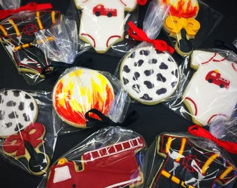 Firefighter Baby Shower Decorated Sugar Cookies