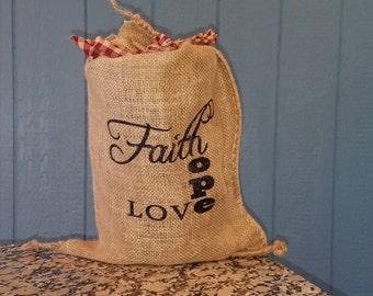 Lighted Burlap Sack Faith Hope Love 12 x 20 in