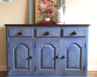 Greek Blue Handpainted Sideboard / Dresser Base