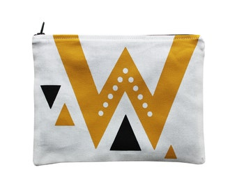 Fabric zip pouch 100 % cotton mustard yellow and black hand-printed