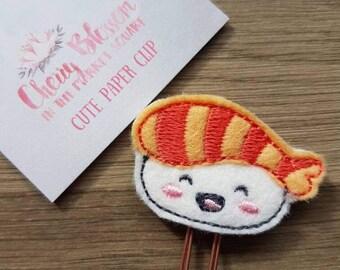Kawaii Cute Prawn Sushi Paper Clip