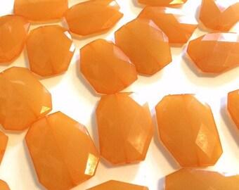 XL Tangerine faceted beads, acrylic beads jewelry making, 39mm orange, chunky orange beads, big orange beads, wire bangles or bracelet