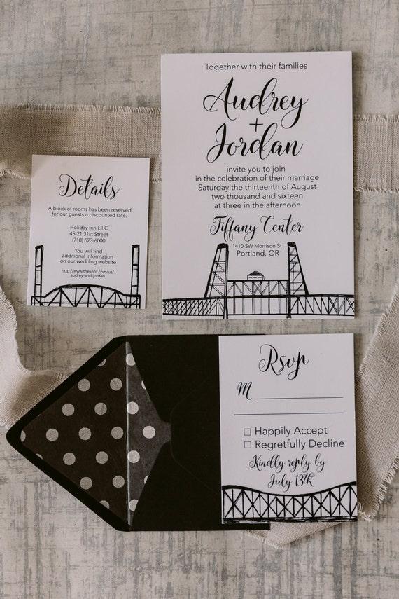 Portland Oregon Wedding Invitations