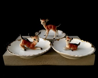 Upcycled/Hand-crafted/Vintage Fawn Ringholder/Trinket Dish/Ring Dish- Free Shipping