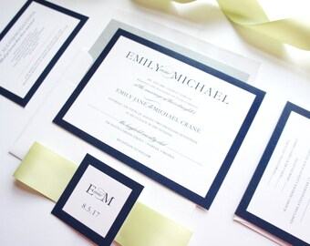 Urban Wedding Invitation, Modern Invites, Green and Navy, Gray, Silver, Modern Wedding Invitations - SAMPLE SET