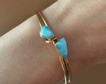 Larimar Bracelet // Larimar Gold Bracelet // Larimar Bangle bracelet // Larimar Cuff Bracelet