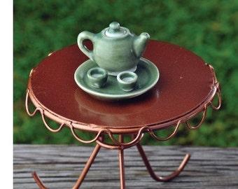 Fairy Garden  - Green Tea Set 4 Pieces - Miniature
