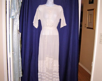Victorian lawn dress late 1800s early 1900s lace