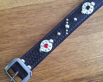 Black or natural leather rockabilly studded western belt forties