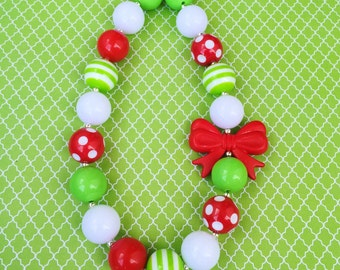Kids Christmas Outfit, Christmas Bubblegum Necklace, Christmas Bow Necklace, Kids Christmas Jewelry, Red and Green Chunky Necklace