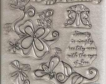 Close to My Heart My Acrylix Clear Stamp Set: D1261 Simple Beauty. Never Used. Cling Stamps.