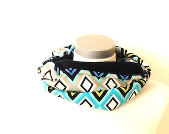 SALE: Infinity scarf wieber motif, blue fleece,tube scarf,circle scarf,round scarf,scarf women,winter scarf,gift idea