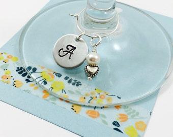 Wine Charm, Personalized Wine Charm, Initial Wine Charm, Bridal Party Wine Charm, Wedding Shower
