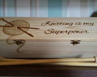Wood Knitting needle box pyrography wool crochet personalised