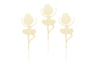 Ballerina Cupcake Toppers Picks - Any Color Glitter - Ballet