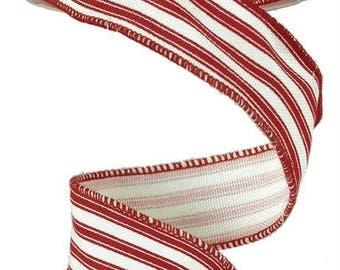 """1.5"""" Red Stripe Ribbon, Red White Ticking Stripe Ribbon, Red White Stripe Ribbon (10 Yards) - RA12216W"""