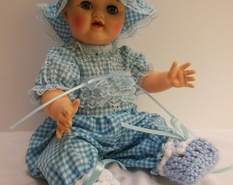 "Blue Gingham Jumper Set for 16"" Ideal Betsy Wetsy Dolls"