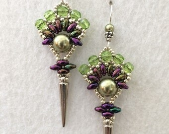 Green and Purple Art Deco Fan Earrings with Pearls and Czech Crystals