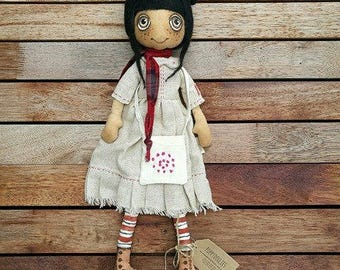 Camile, hand made Poppydollie, collectable cloth doll.
