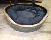 Wine Barrel Dog bed with soft bed