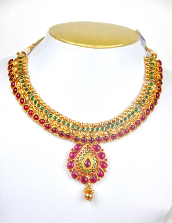 Antique kemp necklace  with earrings and tikka headpiece  | Indian Jewellery | Indian Necklace | Temple Jewelry