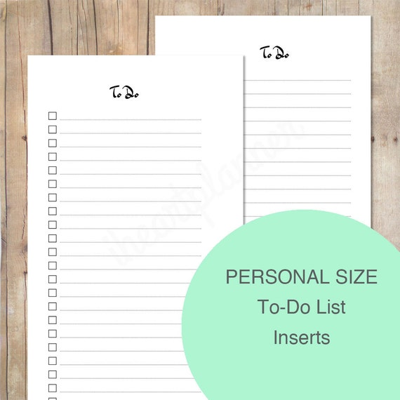 Personal Size To-Do List Inserts