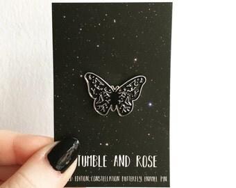 Butterfly enamel pin - star constellation enamel pin - space enamel pin - constellation flair - star pattern pin - butterfly flair