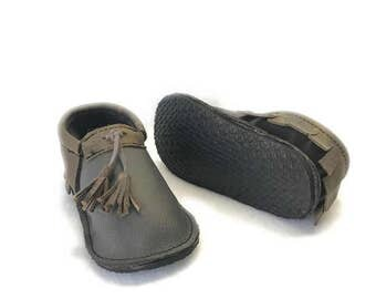 Camouflage Baby Moccasins with rubber sole, hard soled moccasins