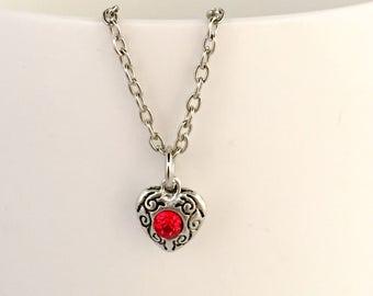 July birthstone necklace, July pendant necklace, July necklace, ruby birthstone necklace, ruby pendant necklace, ruby necklace,