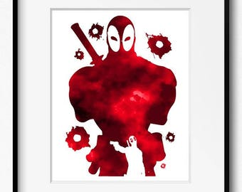 Deadpool Watercolor Etsy