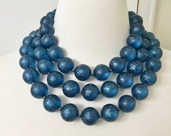 "PONO Italy Design By Joan Goodman Blue Resin Necklace 65"" Long"