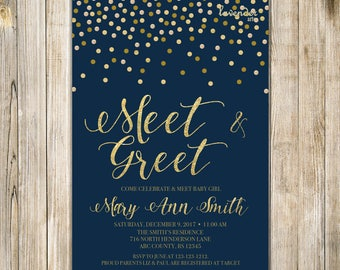 MEET and GREET Invitation, NAVY Blue Gold Meet the Baby Invite, Sip & See Party, Twin Babies, Baby Girl Boy Couple Shower, Printable Digital