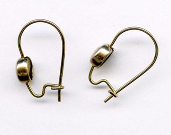 Brass kidney ear wire with brass bead 4 pair. b9-1015(e)