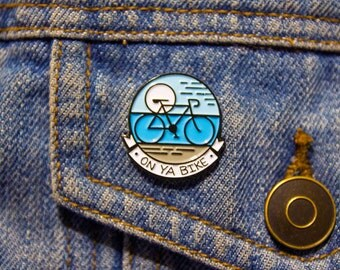 Bike enamel pin, bicycle, On Ya Bike pin, riding a bike, cycle fitness enamel, blue lapel enamel, cycling enamel pin, bicycle art design