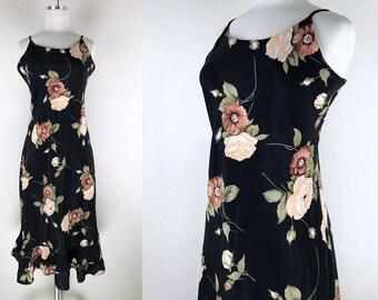 1990s Black Slip Dress with Peach Brown and Green Flower Print // 90s Slip Dress with Ruffle Hem
