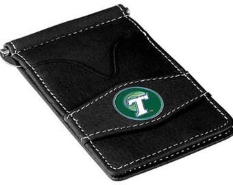 Tulane Green Wave Black Leather Wallet Card Holder