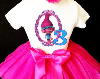 Birthday Trolls Poppy Princess Hot Pink Blue  3rd Third age 3 Shirt & Tutu Set Girl Outfit Party Dress Headband Custom Size Cake Smash