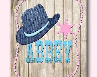 Cowgirl prints,name sign,personalized cowgirl prints cowgirl hat,pink-blue-navy,canvas wall decor, cowgirl crib bedding and  wall art 220