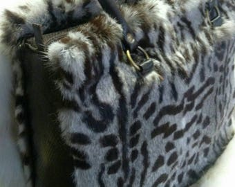 New!Natural,Real ANIMAL PRINT Fullskin Rabbit Fur Bag with Real Leather details!